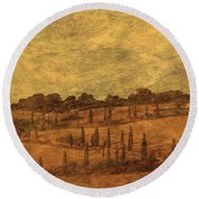 Landscape And Winding Road With Cypress Trees Round Beach Towel
