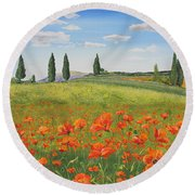 Tuscan Poppies-b Round Beach Towel