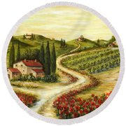 Tuscan Road With Poppies Round Beach Towel by Marilyn Dunlap