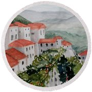 Tuscan Roof  Tops Round Beach Towel