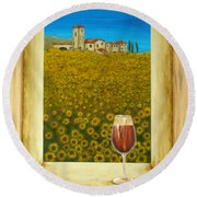 Tuscan View Round Beach Towel