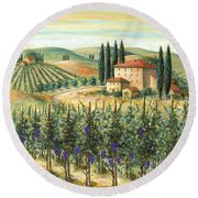 Tuscan Vineyard And Villa Round Beach Towel by Marilyn Dunlap