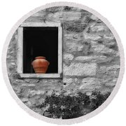 Tuscan Window And Pot Bw And Color Round Beach Towel
