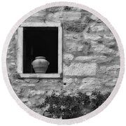 Tuscan Window And Pot Round Beach Towel