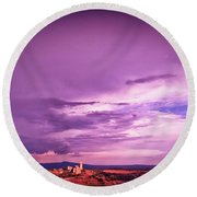 Tuscania Village With Approaching Storm  Italy Round Beach Towel