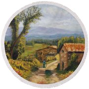 Tuscany Farm Road Round Beach Towel