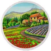 Tuscany Lavender  Round Beach Towel