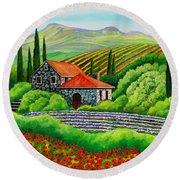 Tuscany Poppies Round Beach Towel