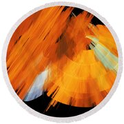 Tutu Stage Left Abstract Orange Round Beach Towel