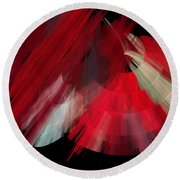 Tutu Stage Left Red Abstract Round Beach Towel