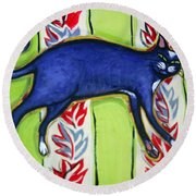 Tuxedo Cat On A Cushion Round Beach Towel