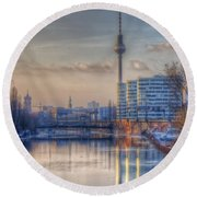 Tv Tower Sunset Round Beach Towel