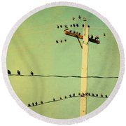 Tweeters Tweeting Round Beach Towel