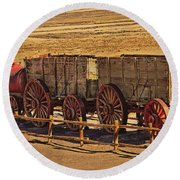 Twenty-mule Team In Sepia Round Beach Towel