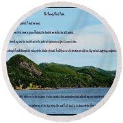 Twenty Third Psalm And Mountains Round Beach Towel