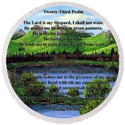 Twenty-third Psalm And Twin Ponds Round Beach Towel