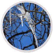 Twigs And Ice Round Beach Towel