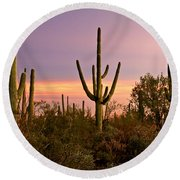Twilight After Sunset In The Cactus Forests Of Saguaro National Park Round Beach Towel
