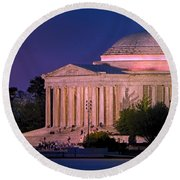 Twilight At The Jefferson Memorial Round Beach Towel