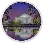 Twilight At The Thomas Jefferson Memorial  Round Beach Towel