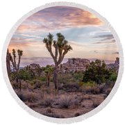 Twilight Comes To Joshua Tree Round Beach Towel