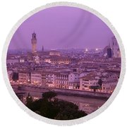 Twilight, Florence, Italy Round Beach Towel