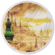 Twilight In Praha Round Beach Towel
