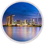 Twilight In Singapore Round Beach Towel by Ulrich Schade
