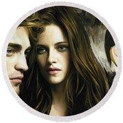 Twilight  Kristen Stewart And Robert Pattinson Artwork 1 Round Beach Towel