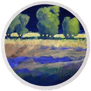 Twilight Landscape Round Beach Towel