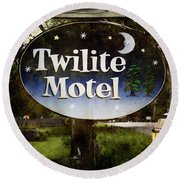 Twilight Motel Round Beach Towel