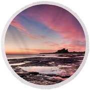 Twilight On Harkness Rocks Bamburgh Round Beach Towel
