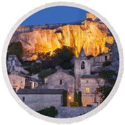 Twilight Over Les Baux Round Beach Towel