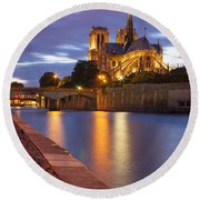 Twilight Over Notre Dame Round Beach Towel