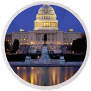 Twilight Over Us Capitol Round Beach Towel