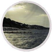 Sunset On The Beach - Twilight Symphony Round Beach Towel