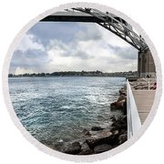 Twin Bridges Over Blue Water Round Beach Towel