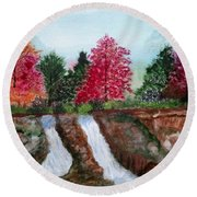 Twin Falls Round Beach Towel