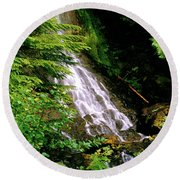 Twin Falls Creek Mount Rainier Round Beach Towel