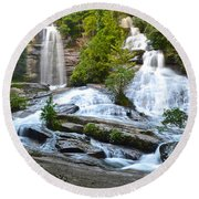 Twin Falls Flows Forth Round Beach Towel