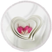Twin Hearts 2 Round Beach Towel