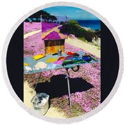 Oceanview Pinks Round Beach Towel