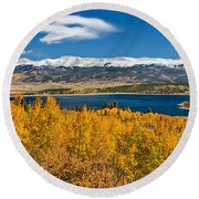 Twin Lakes Colorado Autumn Snow Dusted Mountains Round Beach Towel by James BO  Insogna