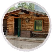 Twin No. 1 Cabin At The Holzwarth Historic Site Round Beach Towel