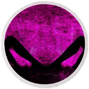Twin Nude Silhouette Round Beach Towel