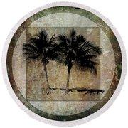 Twin Palms Round Beach Towel