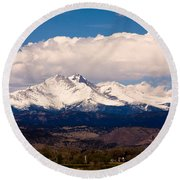 Twin Peaks Snow Covered Round Beach Towel