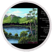 Twin Ponds And 23 Psalm On Black Horizontal Round Beach Towel