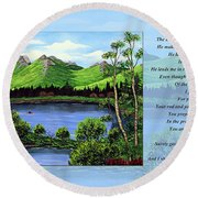 Twin Ponds And 23 Psalm On Blue Horizontal Round Beach Towel