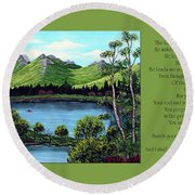 Twin Ponds And 23 Psalm On Green Horizontal Round Beach Towel